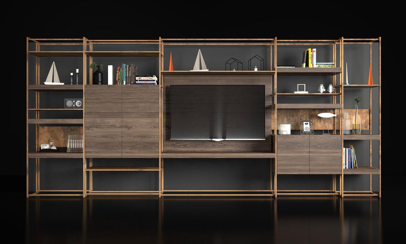 Obegi Home Wall Systems Henge 3D Model Bookshelf Brass Shelves