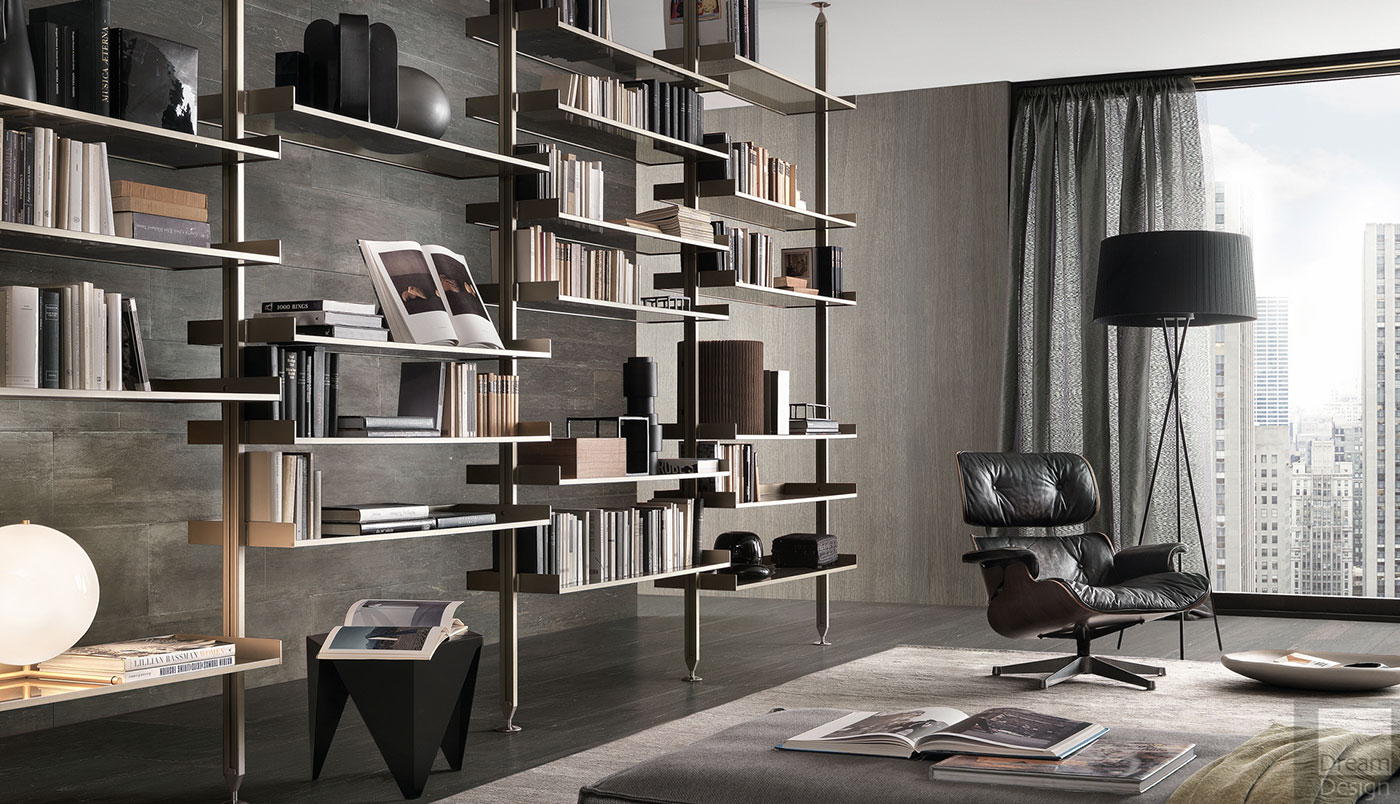Obegi Home Wall Systems Rimadesio Zenit Day Book Shelving